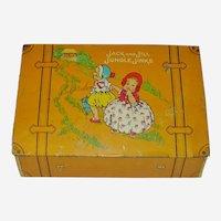 1920's Tin Lithograph Jack & Jill Jungle Jinks Suitcase Box