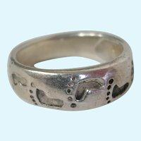 Sterling Silver Footprint Band Ring