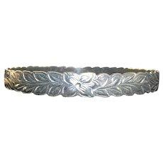 Vintage Silver Floral Bangle