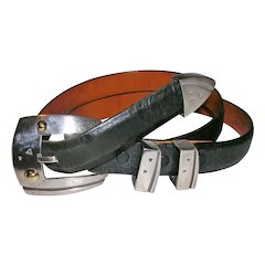 Designer John Atencio Buffalo Belt 18K and Silver Belt Buckle, Tip and Keepers