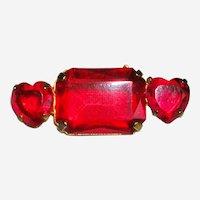 Vintage Costume Hearts Lapel Pin Brooch