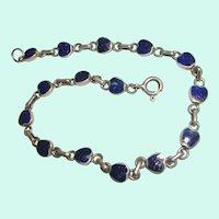 Sterling Silver Lapis Link Bracelet