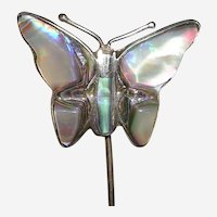 Vintage Sterling Mexico Butterfly Stick Lapel Pin
