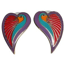 Vintage Laurel Burch 'Dove Heart' Enamel Goldtone Earrings