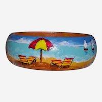 Beach Scene Hand Painted Wood Bangle Bracelet