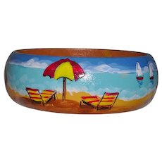 Beach Scene Hand Painted Wood Bangle Bracelet