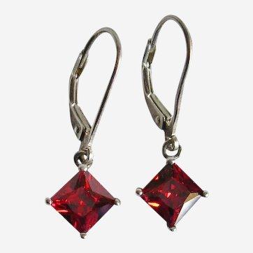 Sterling Silver Square Garnet Dangle Earrings