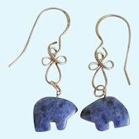 Sterling Silver Sodalite Zuni Bear Fetish Bead Earrings
