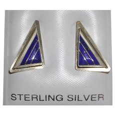 Signed Native American Sterling Lapis Inlay Earrings