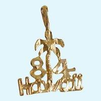14Kt Gold Souvenir Charm 1984 Hawaii