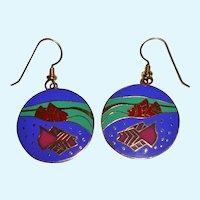 Vintage Laurel Burch 'Tropical Fish' Disc Enameled Earrings