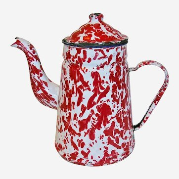 Red and White Swirl Enamelware Tea Coffee Pot French Decor