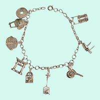 Oriental Theme Silver Charm Bracelet