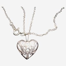 Sterling Silver Filigree Hearts Within Heart Necklace
