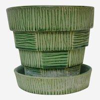 McCoy Pottery Green Basket Weave Planter