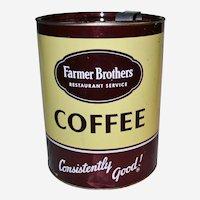 Large Farmer Bros. Restaurant Coffee Tin