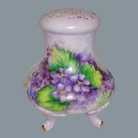 Porcelain Shaker Muffineer Hand Painted Violets Signed