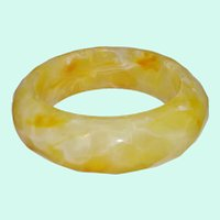 Chunky Faceted Marbled Lucite Bangle Bracelet
