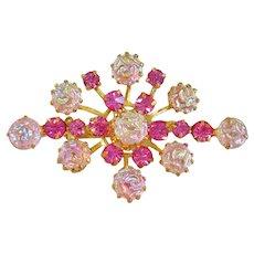 Lovely Austrian Crystal Diamond Shape Brooch Pin