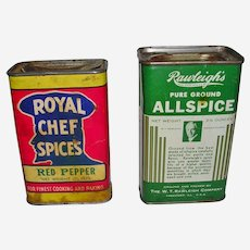 Early 1900's Spice Tins Allspice Pepper