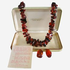 Amber Chunk Necklace Earrings 12 K GF with Original Presentation Case