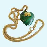 Green Apple Malachite Pendant with Flattened Snake Necklace