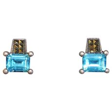 Blue Topaz and Marcasite Sterling Silver Earrings