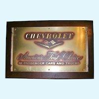 Genuine Chevrolet General Motors Promotional Plaque 1950's