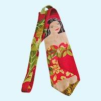 Vintage Rayon Kamehameha Hawaiian Print Necktie