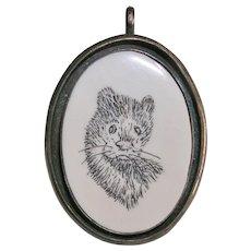 Sweet Sterling Silver Scrimshaw Otter Pendant