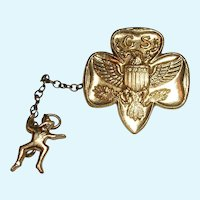 Girl Scout Pin with Brownie Leader Attachment