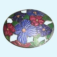 Spring Inspired Pierced Pot Metal Floral Brooch