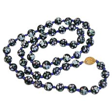 """Attractive Hand Painted Glass Bead Necklace 25"""""""
