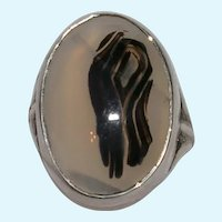 Vintage Sterling Silver Oval Agate Ring
