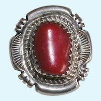 Navajo Jon McCray Red Coral Silver Pendant