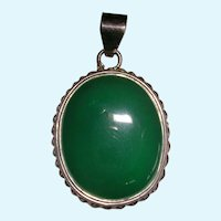 Large Translucent Chrysoprase Pendant in Sterling Silver