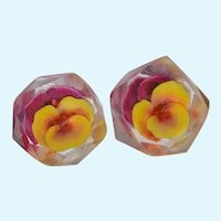 Lucite Pansy Face Back Carved Beveled Earrings