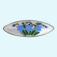 Lovely Guilloche Enamel Blue Bells Brooch Pin