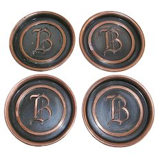 Mid Century Hyde Park Copper Coasters Initial B