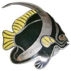 Rare Margot de Taxco Angelfish Enamel Pin/Brooch