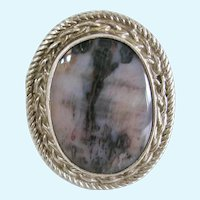 Vintage Picture Agate Sterling Silver Ring