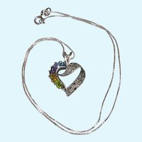 Sterling Multi Gemstone Heart Pendant and Box Chain