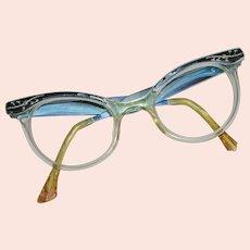 1960's Cat Eye Blue Metallic Engraved Glasses
