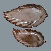 Frankoma Pottery Leaf Design Plainsman Brown Satin Dishes