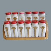 Mid Century Griffiths Ribbed Milk Glass Spice Jars and Rack