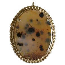 Large Mid Century Floating Clouds Dendritic Agate Brooch/Pendant