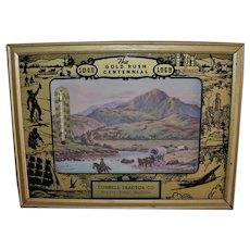 Advertising Thermometer Calendar Gold Rush Centennial Reverse Painted