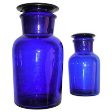 Cobalt Blue Blown Reagent Bottles Ground Glass Stoppers
