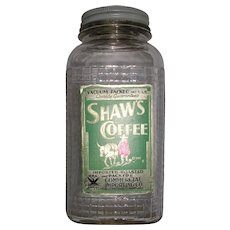 1920's Waffle Design Shaw's Coffee Jar Vacuumized Lid