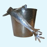 Vintage 1930's TABER & TIBBITS Hand Hammered Ice Bucket and Tongs